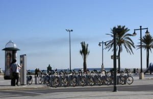 beach on the sunny day and in front bike
