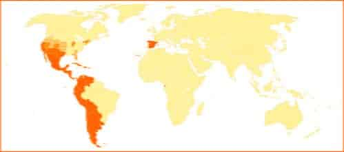 Map of the world and where their speack spanish